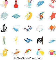 Hot weather icons set, isometric style
