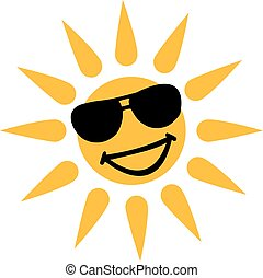 Hot weather - Smiling sun with sun glasses