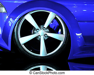 Detail of wheel section on a Japanese import modified car