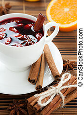 Hot wine for winter and Christmas with almonds,
