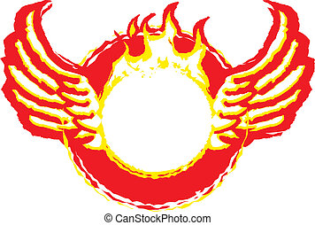A fiery, burning ring with wings