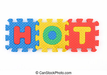 Hot word arranged in puzzle letters