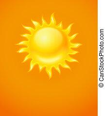 Hot yellow sun icon on orange background