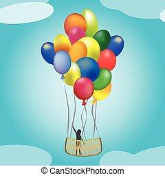 hotair balloon in flight
