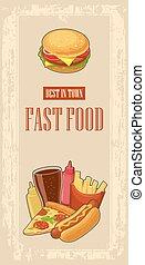hotdog, セット, ピザ, ハンバーガー, ペーパー, びん, 型, 速い, バックグラウンド。, コーラ, 赤い箱, 食物, ポスター, ガラス, 平ら, ケチャップ, mustard., illustration., ポテトは 揚がる, ベクトル, icon.