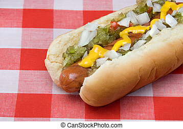 Hotdog - A scrumptious barbecued hotdog with relish, onions,...