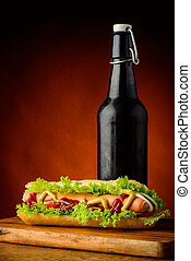 hotdog, and, пиво
