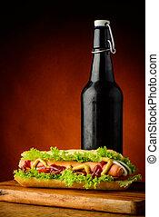Hotdog and beer