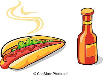 Hotdog and ketchup