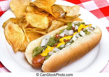 Hotdog and potato chips