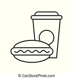 Hotdog and soft drink, Fast food outline icon