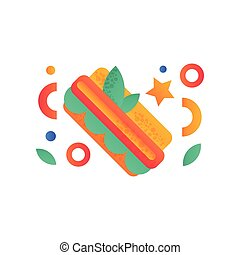 Hotdog, fast food dish vector Illustration on a white background