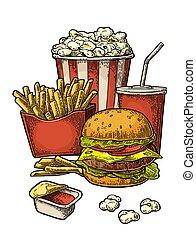 hotdog, hamburger, aardappel, poster, vasten, voedsel., cola, popcorn, bakken