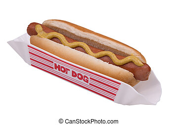 Hotdog in a bun and holder with yellow mustard isolated over white