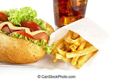 Hotdog on tray with cola on white background