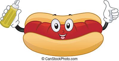 hotdog, panino, mascotte