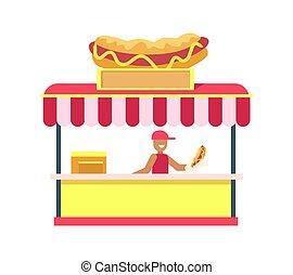 hotdog, stander, kleurrijke, kaart, vector, illustratie