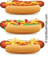 Hotdog with cheese and tomato - hotdog with cheese and ...