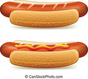 Hotdog with ketchup and mustard isolated on white vector...