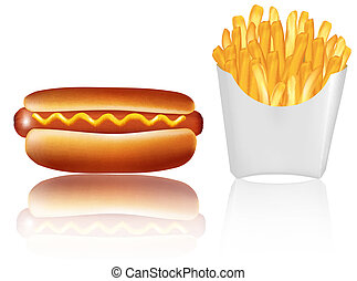Hotdogr and french fries. Vector.