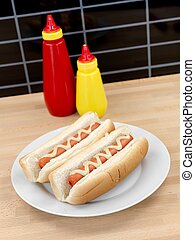 Hotdogs - A hotdog with mustard sauce on a kitchen bench