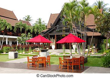 hotel, área de esparcimiento, lujo, tailandia, samui