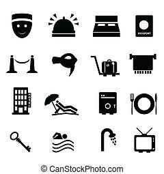 hotel, és, utazás, ikon, állhatatos
