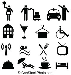 hotel, és, vendégszeretet, ikon, állhatatos