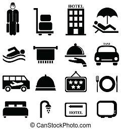 hotel, és, vendégszeretet, ikonok