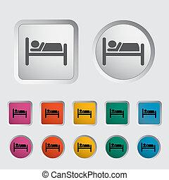 hotel, único, icon.