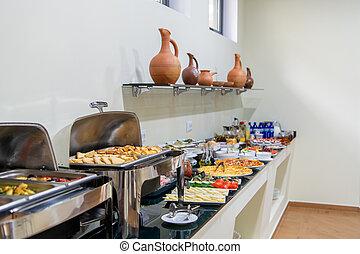 hotel., 家族, dishes., ホテル, 別, ビュッフェ, 板, 朝食