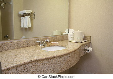 View of a hotel bathroom counter