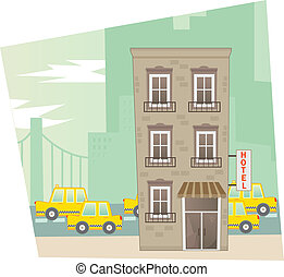 Hotel - A city scene of a cute hotel in the front and a...