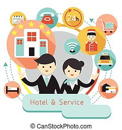 Hotel Accommodation Icons Heading