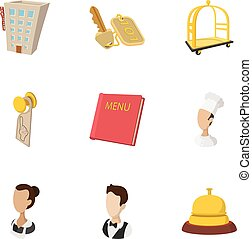 Hotel accommodation icons set, cartoon style