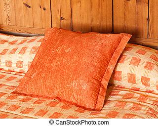 hotel, almohada, cama