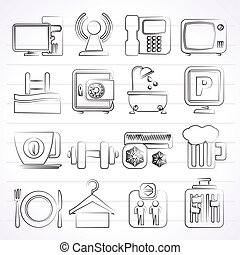 Hotel Amenities Services Icons