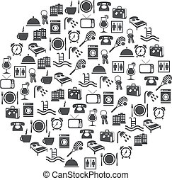 hotel and accommodation icons in circle