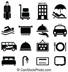 Hotel and hospitality icons - Hotel and hospitality icon set
