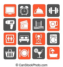 Hotel and Motel facilities icons - Silhouette Hotel and...