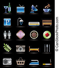 Hotel and Motel objects - Realistic Vector Icons