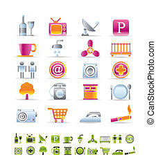 Hotel and Motel objects icons - vector icon sets