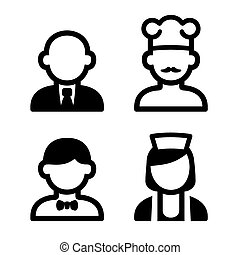 Hotel and Restaurant Staff Icons Set. Vector