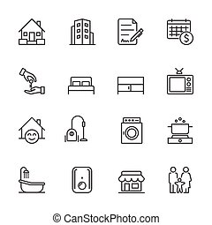 Hotel and Service Apartment, House and Property for rent, Simple thin line hotel icons set, Vector icon design