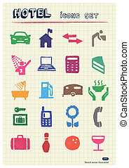 Hotel and service icons set
