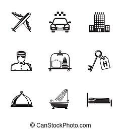 Hotel and service monochrome black icons set with - building, bell, bed, luggage, porter, room key, taxi cab, airplane, bathroom shower.