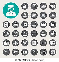 Hotel and travel icon set, Illustration eps10