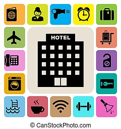 Hotel and travel icon set