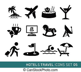 Hotel and Travel icons set 05