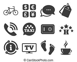 Hotel, apartment services icons. Coffee sign. Vector